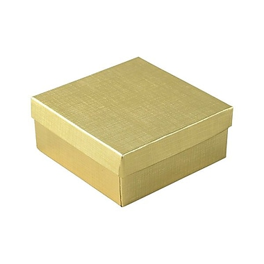 Shamrock 3 1/2in. x 3 1/2in. x 1 1/2in. Linen Foil Jewelry Boxes