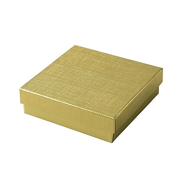 Shamrock 3 1/2in. x 3 1/2in. x 1in. Linen Foil Jewelry Box, Gold