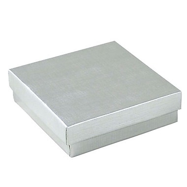 Shamrock 3 1/2in. x 3 1/2in. x 1in. Linen Foil Jewelry Box, Silver