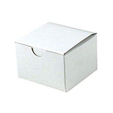 Shamrock 3in. x 3in. x 2in. White Alligator Embossed Tuck-It 1 Piece Folding Gift Box, White