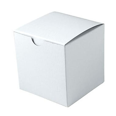Shamrock 4in. x 4in. x 4in. White Alligator Embossed Tuck-It 1 Piece Folding Gift Box, White
