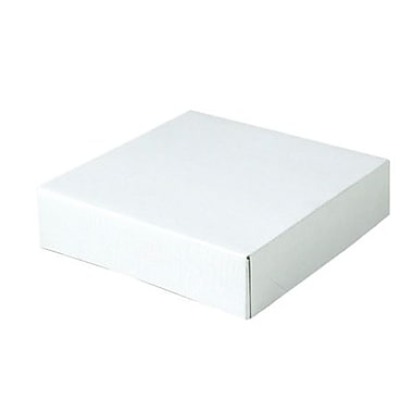 Shamrock 6 1/2in. x 6 1/2in. x 1 5/8in. White Alligator Embossed Tuck-It 2 Piece Folding Gift Box, White