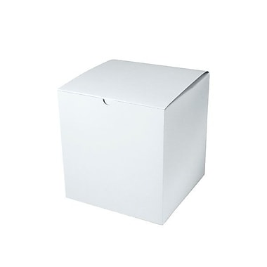 Shamrock 8in. x 8in. x 8 1/2in. White Alligator Embossed Tuck-It 1 Piece Folding Gift Box, White