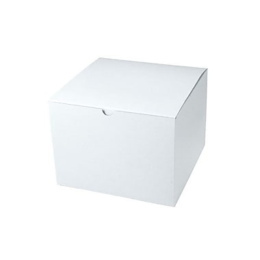Shamrock 8in. x 8in. x 6in. White Alligator Embossed Tuck-It 1 Piece Folding Gift Box, White