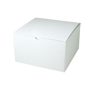 Shamrock 10in. x 10in. x 6in. White Alligator Embossed Tuck-It 1 Piece Folding Gift Box, White