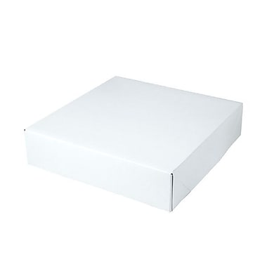 Shamrock 10 1/2in. x 10 1/2in. x 2 1/2in. White Alligator Embossed Tuck-It 2 Piece Folding Gift Box, White