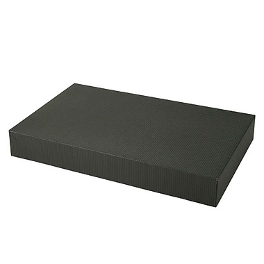 Shamrock 15in. x 9 1/2in. x 2in. Black Pinstripe Tinted Kraft 2 Piece Pop Up Apparel Box, Black/Gray