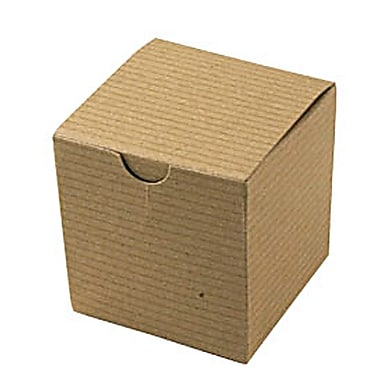Shamrock 3in. x 3in. x 3in. Recycled Kraft Pinstripe Tuck-It 1 Piece Folding Gift Box, Brown/Beige