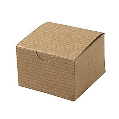 Shamrock 3in. x 3in. x 2in. Recycled Kraft Pinstripe Tuck-It 1 Piece Folding Gift Box, Brown/Beige