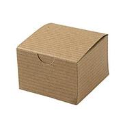 Shamrock 3 x 3 x 2 Recycled Kraft Pinstripe Tuck-It 1 Piece Folding Gift Box, Brown/Beige