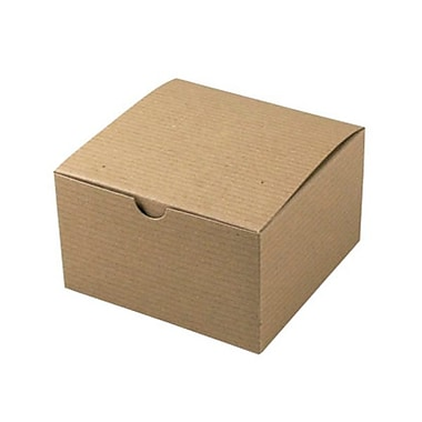 Shamrock 5in. x 5in. x 3in. Recycled Kraft Pinstripe Tuck-It 1 Piece Folding Gift Box, Brown/Beige