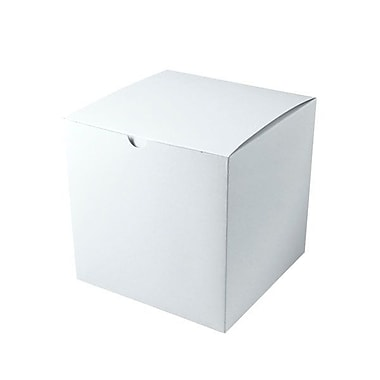 Shamrock 9in. x 9in. x 9in. White Gloss Tuck-It 1 Piece Folding Gift Box, White/Gray