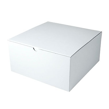 Shamrock 12in. x 12in. x 6in. White Gloss Tuck-It 1 Piece Folding Gift Box, White/Gray