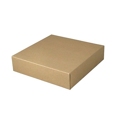 Shamrock 10 1/2in. x 10 1/2in. x 2 1/2in. Recycled Kraft Pinstripe Tuck-It 1 Piece Folding Gift Box