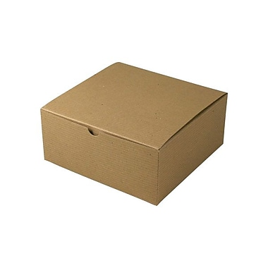Shamrock 8in. x 8in. x 3 1/2in. Recycled Kraft Pinstripe Tuck-It 1 Piece Folding Gift Box, Brown/Beige