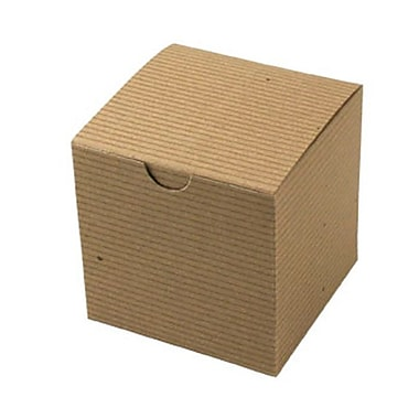 Shamrock 4in. x 4in. x 4in. Recycled Kraft Pinstripe Tuck-It 1 Piece Folding Gift Box, Brown/Beige