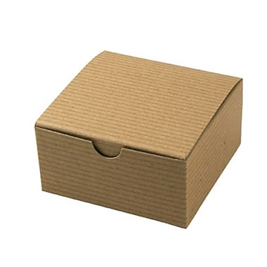 Shamrock 4in. x 4in. x 2in. Recycled Kraft Pinstripe Tuck-It 1 Piece Folding Gift Box, Brown/Beige