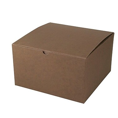 Shamrock 10in. x 10in. x 6in. Tinted Kraft Tuck It 1 Piece Folding Gift Box, Cocoa Brown