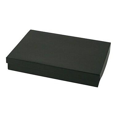 Shamrock 8in. x 5 1/2in. x 1 1/4in. Black Pinstripe Kraft Jewelry Box, Black/Gray