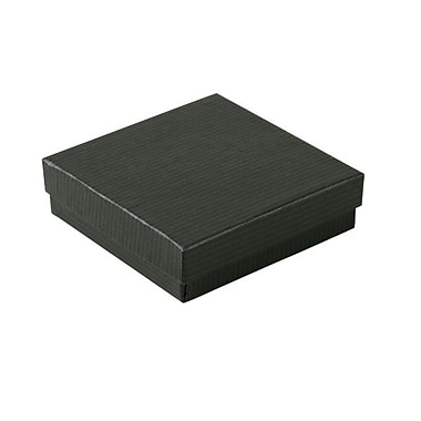 Shamrock 3 1/2in. x 3 1/2in. x 1in. Black Pinstripe Kraft Jewelry Box, Black/Gray