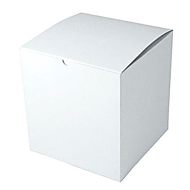 Shamrock 8in. x 8in. x 8 1/2in. White Gloss Embossed Tuck-It 1 Piece Folding Gift Box, White