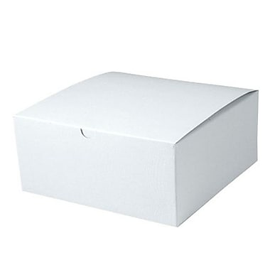 Shamrock 8in. x 8in. x 3 1/2in. White Alligator Embossed Tuck-It 1 Piece Folding Gift Box, White