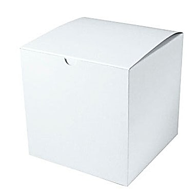 Shamrock 7in. x 7in. x 7in. White Alligator Embossed Tuck-It 1 Piece Folding Gift Box, White