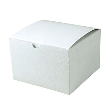 Shamrock 6in. x 6in. x 4in. White Alligator Embossed Tuck-It 1 Piece Folding Gift Box, White