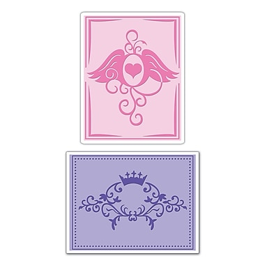 Sizzix® Textured Impressions Embossing Folder, Crown Flourish & Heart Wings Set