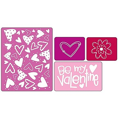 Sizzix Textured Impressions Embossing Folder, Valentine Set #4 224491
