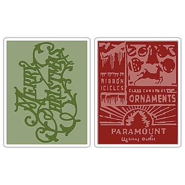 Sizzix® Texture Fades Embossing Folder, Merry Christmas and Vintage Holiday Set