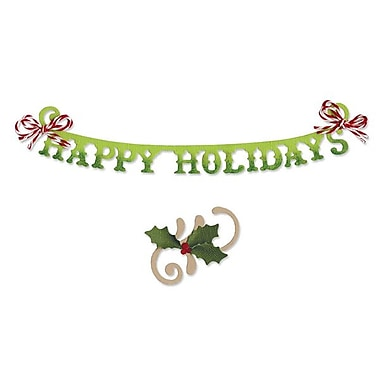Sizzix® Sizzlits Decorative Strip Die, Phrase, Happy Holidays With Holly Flourish