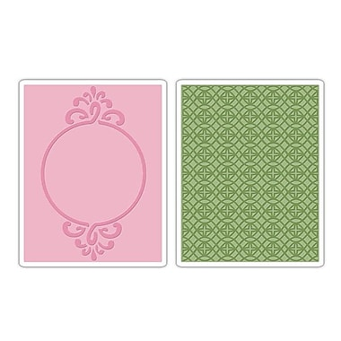 Sizzix® Textured Impressions Embossing Folder, Circle Frame and Sparkling Set