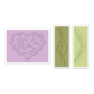 Sizzix® Textured Impressions Embossing Folder, Scallop Heart Doily Set