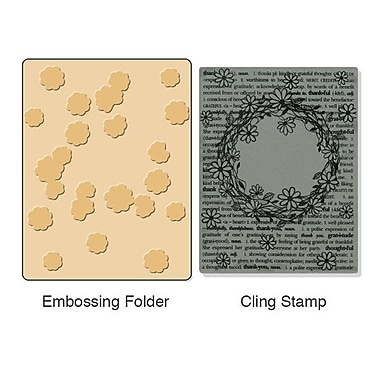 Sizzix® Textured Impressions Embossing Folder With Stamp, Floral Wreath Set