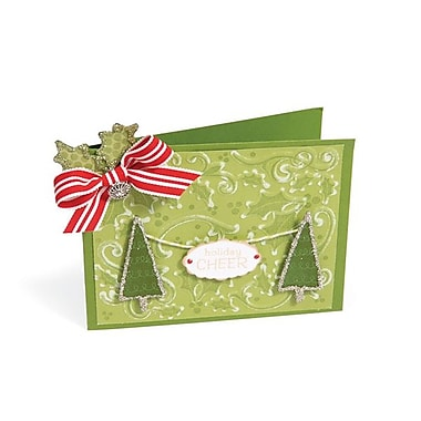 Sizzix® Textured Impressions Embossing Folder With Stamp, Holly Background Set