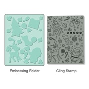 Sizzix® Textured Impressions Embossing Folder With Stamp, Merry Background Set