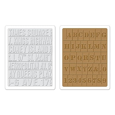 Sizzix® Texture Fades Embossing Folder, Subway and Stencil Set