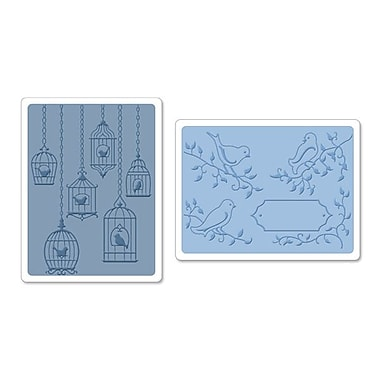 Sizzix® Textured Impressions Embossing Folder, Birds and Birdcages Set #2