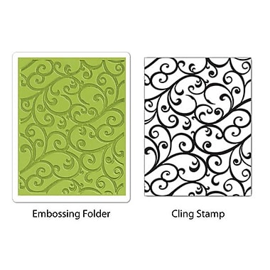 Sizzix® Textured Impressions Embossing Folder With Stamp, Flourish Set