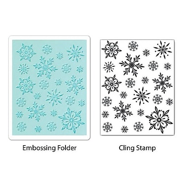 Sizzix® Textured Impressions Embossing Folder With Stamp, Snowflake Background Set