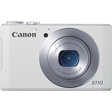 Canon® PowerShot S110 Digital Compact Camera With 3in. LCD, 12.1 Megapixel, White