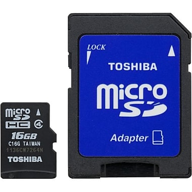 Toshiba PFM016U-1DAK 16GB MicroSD Memory Card With STD Adapter