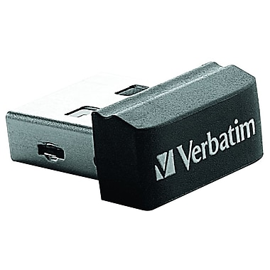 Verbatim ® Store 'n' Stay 32GB 10Mbps Read/3Mbps Write Nano USB 2.0 Flash Drive, Black (98130)