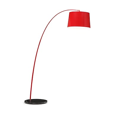 Zuo® 100 W Twisty Floor Lamp, Red With Black Base