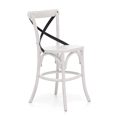Zuo® Elm Wood Union Square Counter Chair, White