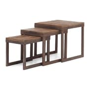 """Zuo® 10"""" x 15.7"""" Fir Wood Civic Center Nesting Table, Distressed Natural"""