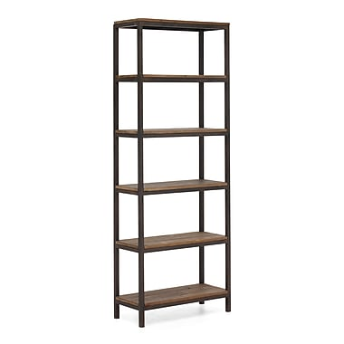 Zuo® Mission Bay Metal/Fir Wood Tall 6 Level Shelf, Distressed Natural
