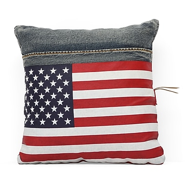 Zuo® Blue Denim Cowboy Cushion With USA Flag