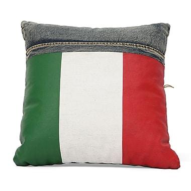 Zuo® Blue Denim Cowboy Cushion With Italy Flag